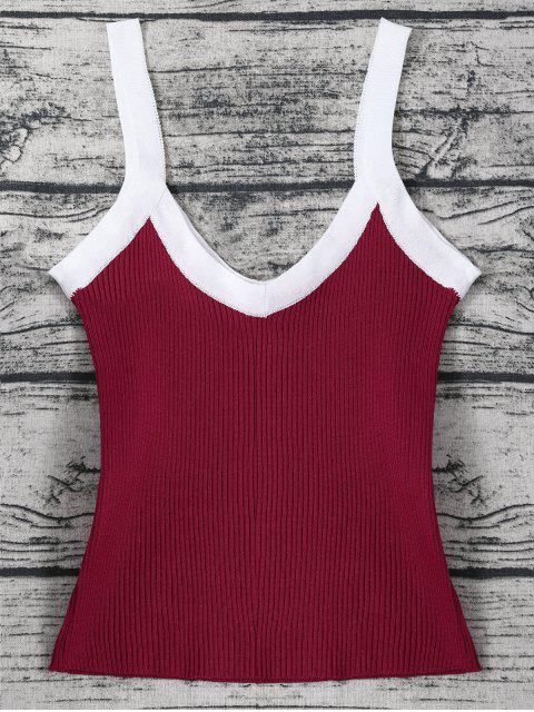 outfit Color Block Knitted Ribbed Tank Top - WINE RED ONE SIZE Mobile