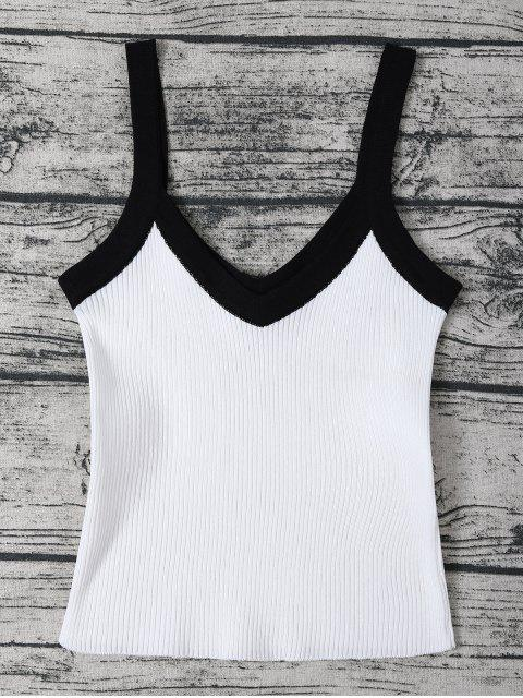 shop Color Block Knitted Ribbed Tank Top - WHITE ONE SIZE Mobile