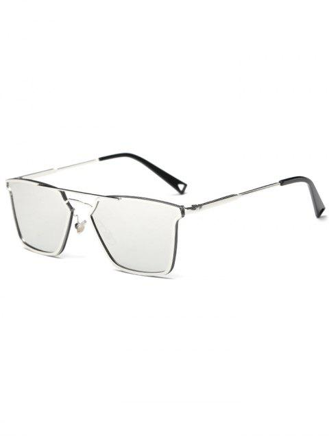 sale Irregular Double Rims Mirrored Sunglasses - SILVER  Mobile