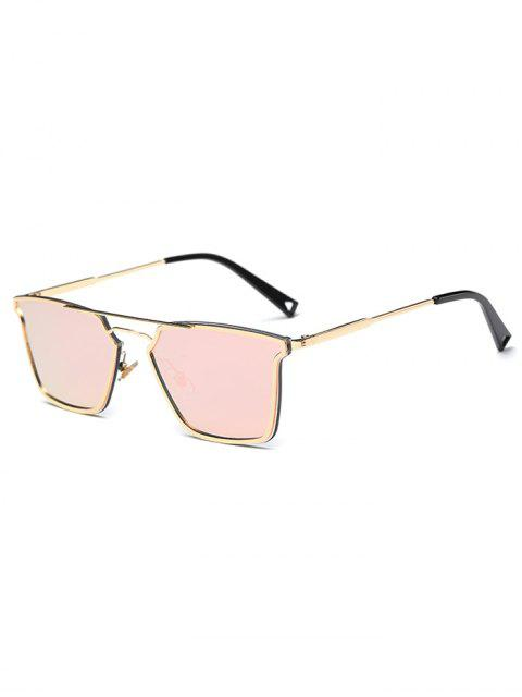 affordable Irregular Double Rims Mirrored Sunglasses - PINK  Mobile