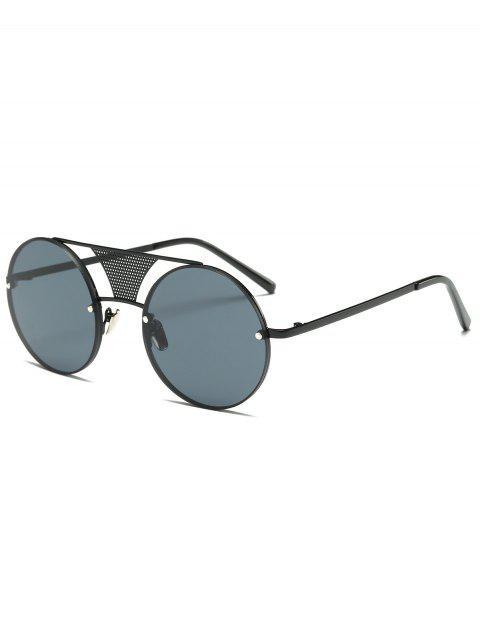 Calados añadido de malla gafas de sol redondas - Negro  Mobile