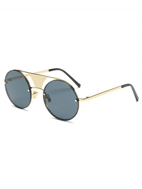 womens Openwork Mesh Insert Round Sunglasses - GOLDEN  Mobile