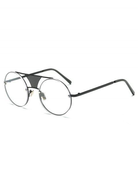 women Openwork Mesh Transparent Lens Round Sunglasses -   Mobile