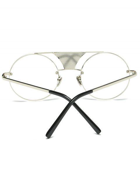 women's Openwork Mesh Transparent Lens Round Sunglasses -   Mobile