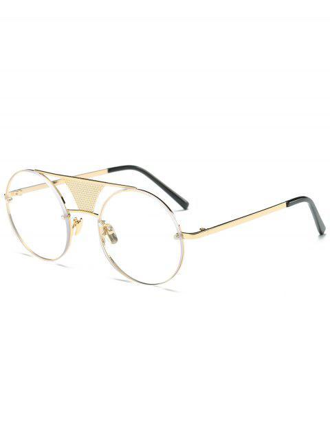 ladies Openwork Mesh Transparent Lens Round Sunglasses -   Mobile