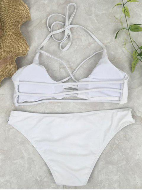 online Cutout Crossover Bikini Set - WHITE L Mobile