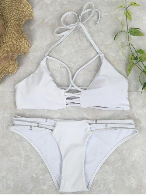 hot Cutout Crossover Bikini Set - WHITE S Mobile
