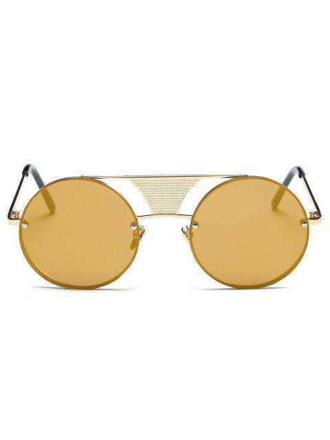lady Openwork Mesh Mirrored Round Sunglasses -   Mobile