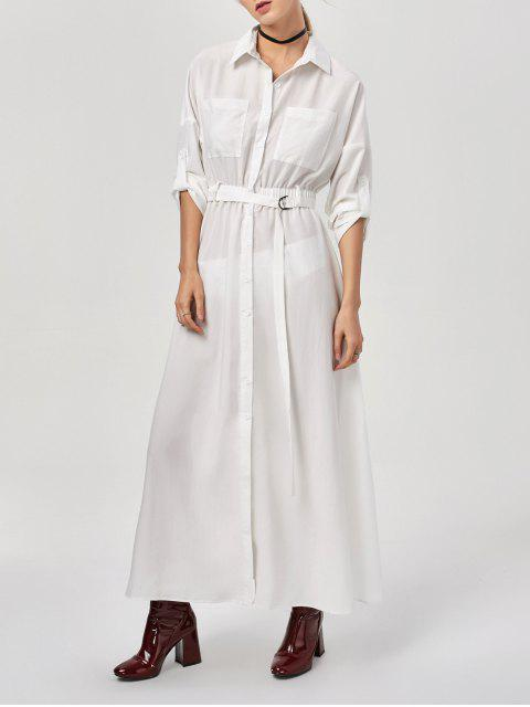 outfits Button Up Belted Maxi Shirt Dress - WHITE M Mobile