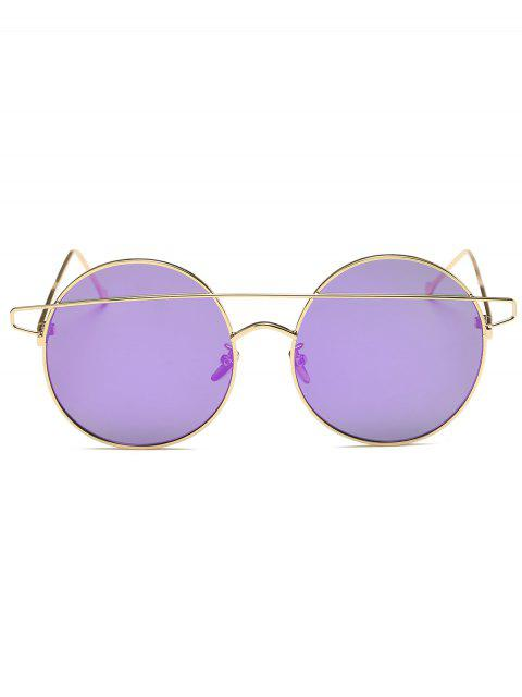 outfit Crossover Mirrored Round Sunglasses - LIGHT PURPLE  Mobile