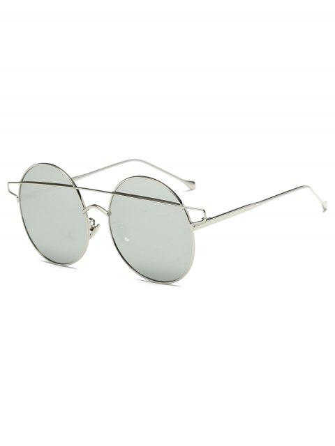 outfits Crossover Mirrored Round Sunglasses - SILVER  Mobile