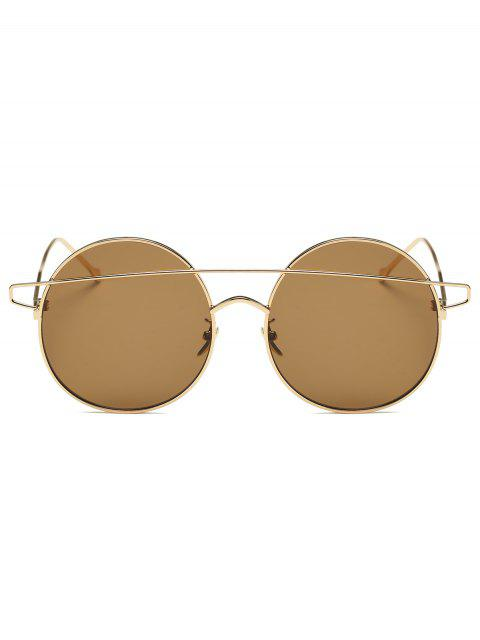shop Crossover Mirrored Round Sunglasses - GOLDEN  Mobile
