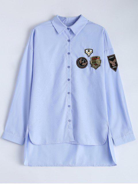 women Uneven Hem Striped Miitary Patches Shirt - LIGHT BLUE M Mobile