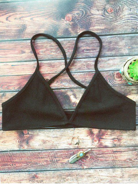 women Crossed Straps Ribbed Unlined Bra - BLACK ONE SIZE Mobile