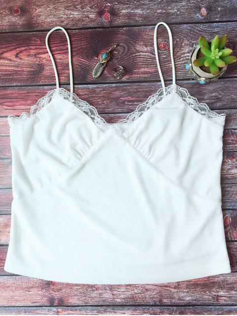 shop Lace Trim Velvet Camisole Top - WHITE L Mobile
