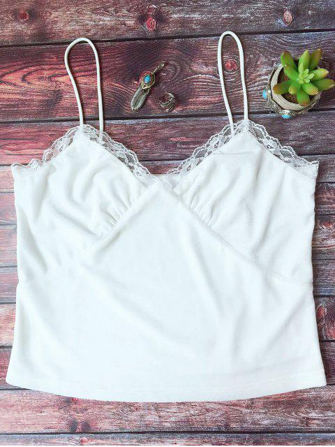 latest Lace Trim Velvet Camisole Top - WHITE S Mobile