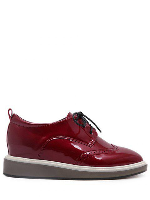 ladies Lace Up Engraving Patent Leather Wedge Shoes - BURGUNDY 38 Mobile