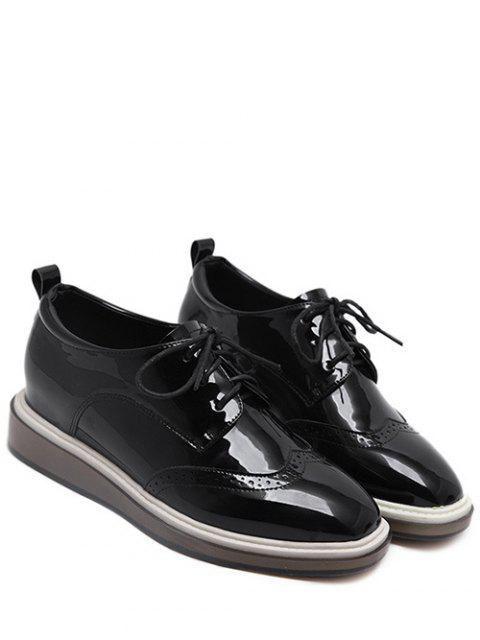 best Lace Up Engraving Patent Leather Wedge Shoes - BLACK 37 Mobile