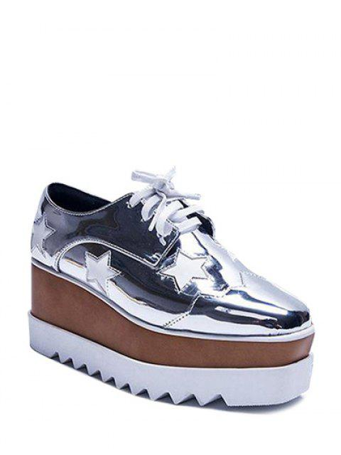 shops Square Toe Stars Tie Up Wedge Shoes - SILVER 38 Mobile