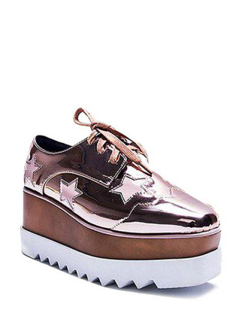 trendy Square Toe Stars Tie Up Wedge Shoes - ROSE GOLD 37 Mobile