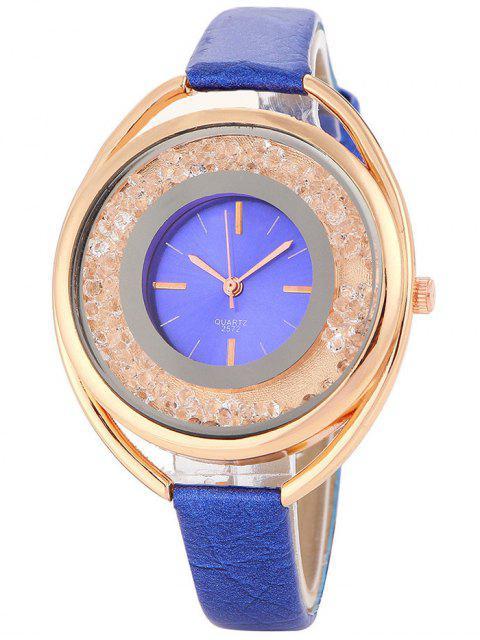 trendy Faux Leather Rhinestone Analog Quartz Watch - BLUE  Mobile