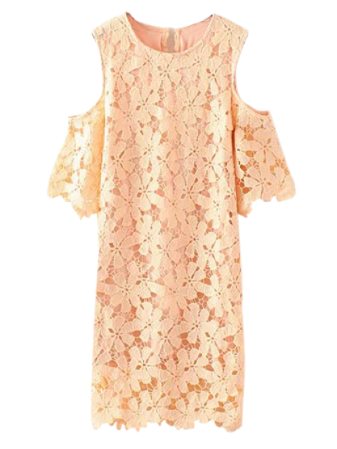 Lace Cold Shoulder Dress - Rose Abricot XL Mobile