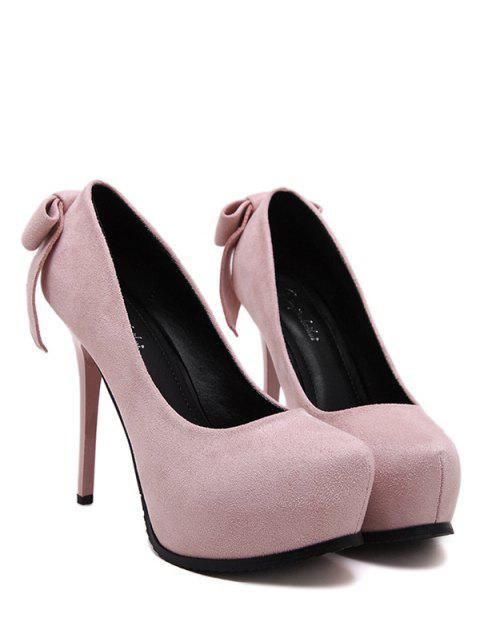 unique Platform Flock Bowknot Pumps - PINK 37 Mobile