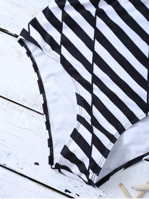 outfit Stripe One Piece Cutout Bathing Suit - WHITE AND BLACK M Mobile