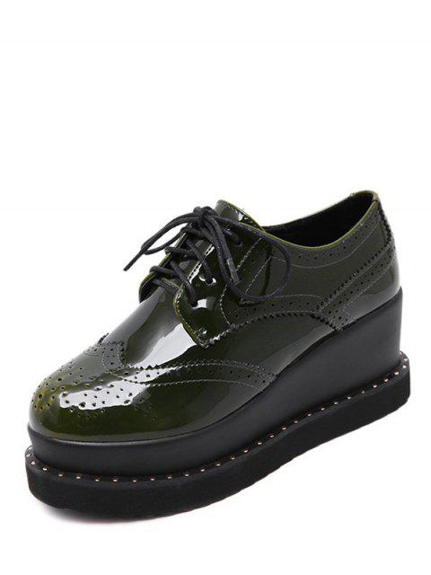 chic Tie Up Round Toe Wedge Wingtip Shoes -   Mobile