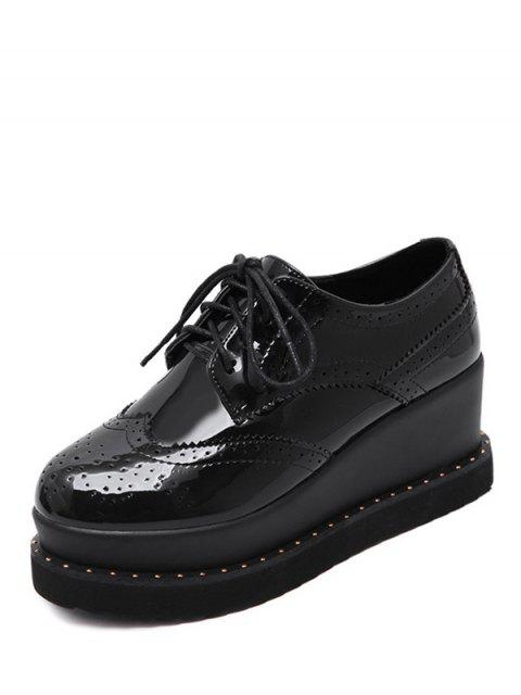 affordable Tie Up Round Toe Wedge Wingtip Shoes -   Mobile