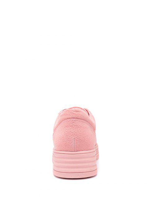 best PU Leather Tie Up Round Toe Athletic Shoes - PINK 38 Mobile
