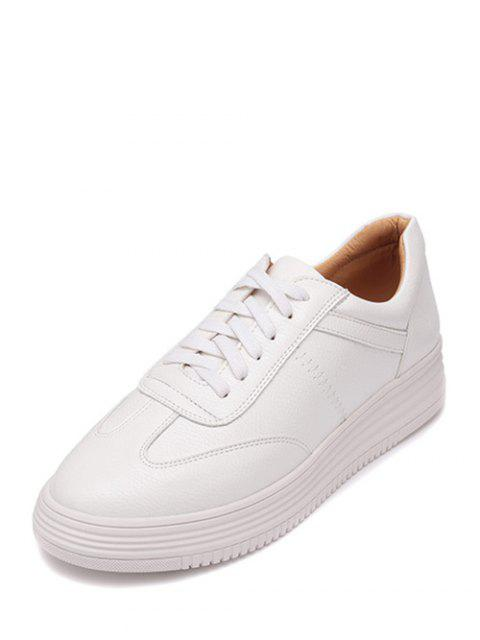 new PU Leather Tie Up Round Toe Athletic Shoes - WHITE 37 Mobile