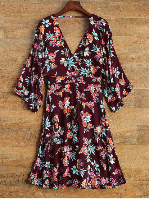 shop Wide Sleeve Floral Print Crossover Dress - BURGUNDY M Mobile