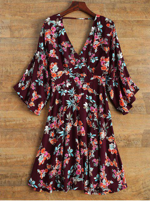 outfits Wide Sleeve Floral Print Crossover Dress - BURGUNDY L Mobile