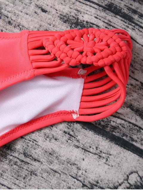 shops Braided Lace-Up Bikini Set - ROSE RED M Mobile