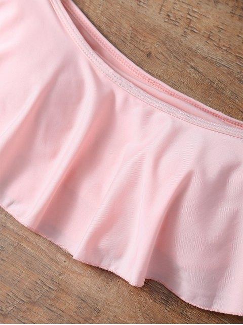 best Off The Shoulder Cutout Flounced Bikini Set - PINK L Mobile