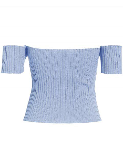 fancy Off The Shoulder Rib Knit Crop Top - LIGHT BLUE ONE SIZE Mobile