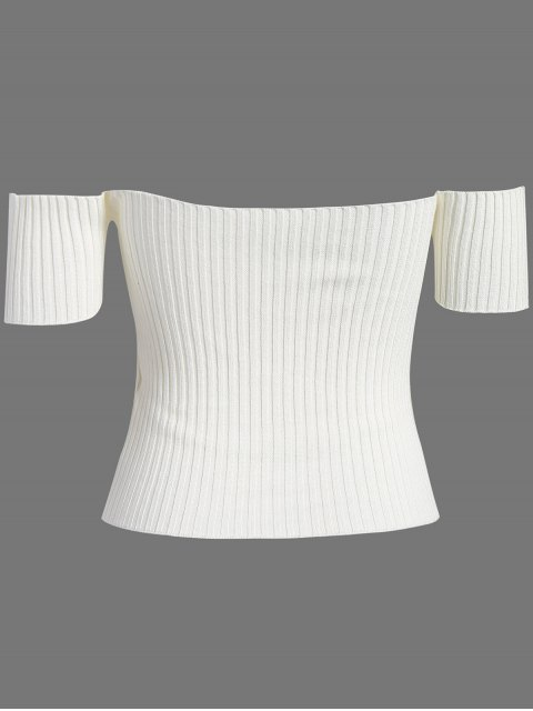 sale Off The Shoulder Rib Knit Crop Top - WHITE ONE SIZE Mobile