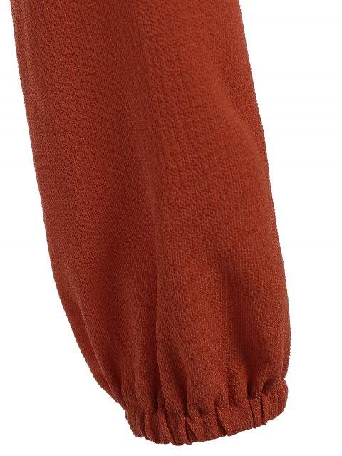 trendy Front Knot Keyhole Plunge Crop Top - JACINTH M Mobile