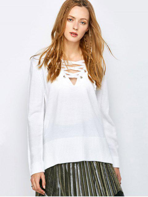 buy V Neck Lace-Up Sweater - WHITE XL Mobile