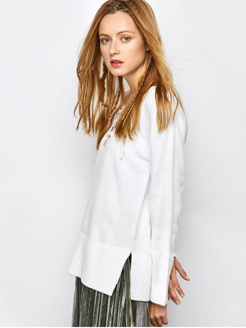 chic V Neck Lace-Up Sweater - WHITE S Mobile