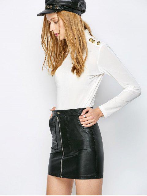 shops High Collar Velvet Bodysuit - OFF-WHITE S Mobile
