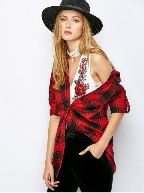 outfits Long Checked BF Style Shirt - RED XL Mobile
