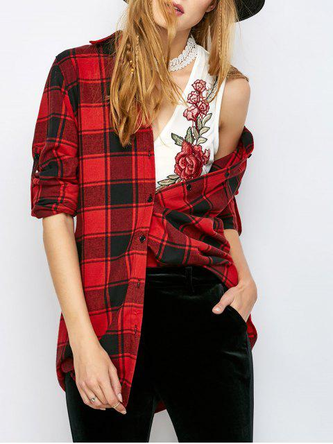 latest Long Checked BF Style Shirt - RED S Mobile