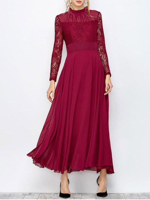 buy Lace Chiffon Ruffle Collar Evening Dress - BURGUNDY L Mobile