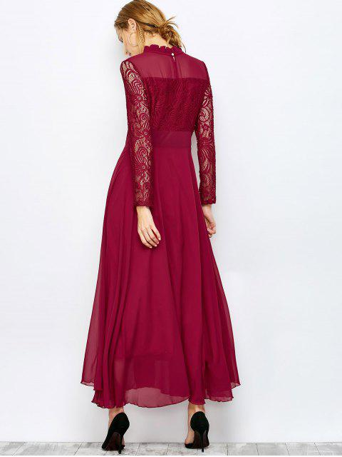 affordable Lace Chiffon Ruffle Collar Evening Dress - BURGUNDY XL Mobile