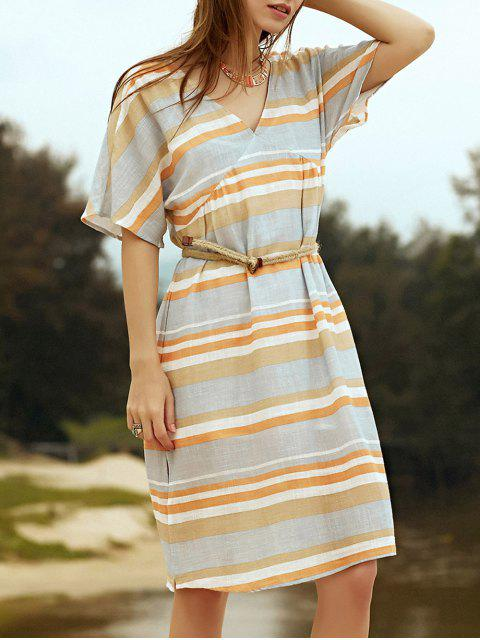 shop Belted Striped Plunging Neck Short Sleeve Dress - GRAY S Mobile