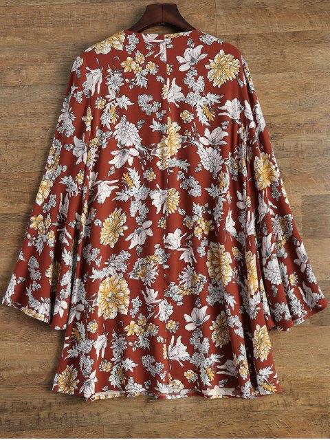 fancy Flare Sleeve Floral Swing Dress - DARK AUBURN M Mobile