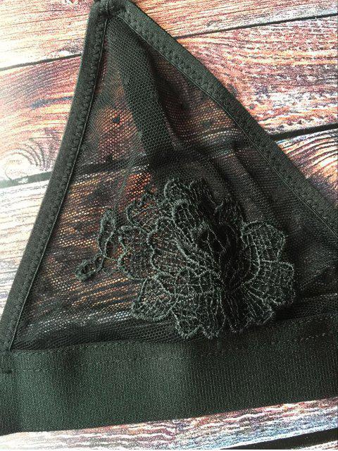 ladies See-Through Floral Applique Bra - BLACK M Mobile