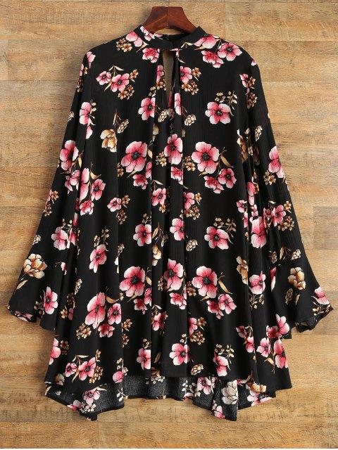 shops Keyhole Cutout Floral Print Swing Dress - BLACK L Mobile